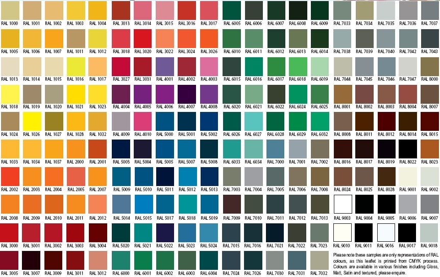 RAL COLOUR CHART FOR ALUMINIUM FINISHES