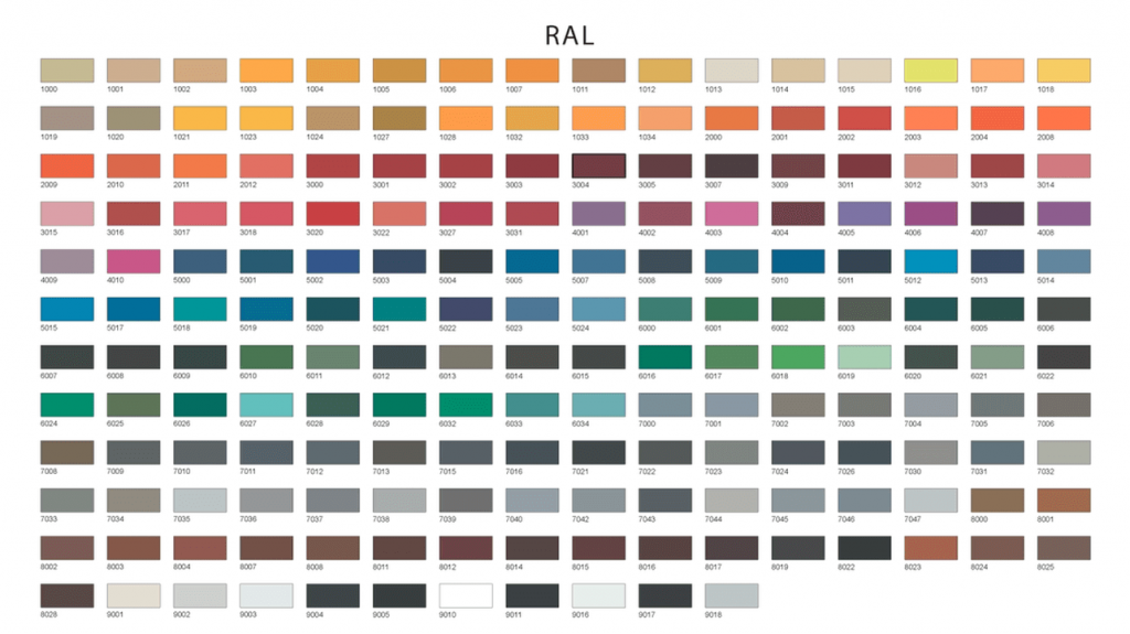 All RAL colour chart for available colours in aluminium