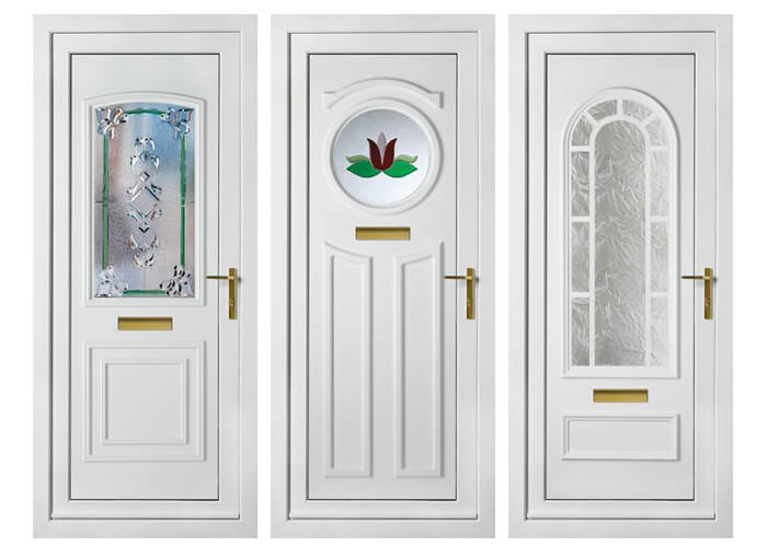 3 styles of UPVC Entrance Doors with golden handles and sound proof glass