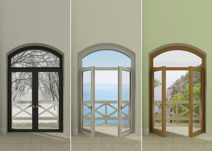 upvc french doors in white, black and wood finish