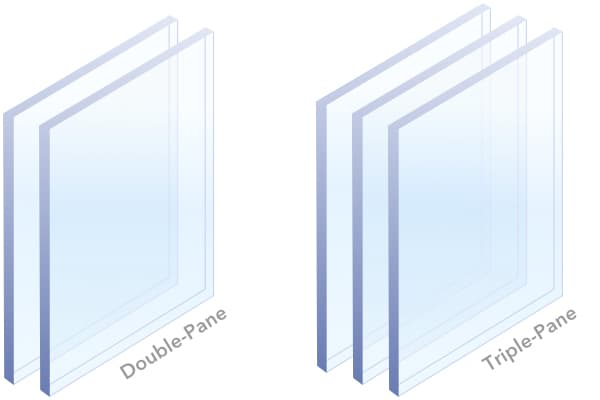 animation showing replacement double and triple glazing