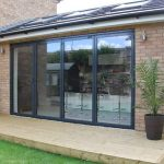 4 pane bifold doors with one pane open