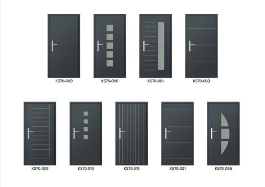 9 DIFFERENT ALUMINIUM DOOR STYLES IN GREY