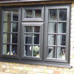 black aluminium sash windows, 4 pane georgian style triple glazed unit