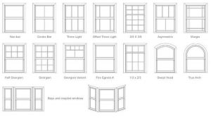 DRAWING OF ALL THE SASH WINDOWS OPTIONS AND STYLES AVAILABLE IN LONDON