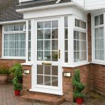 white georgian bar pvcu front door and porch on house in ealing w13