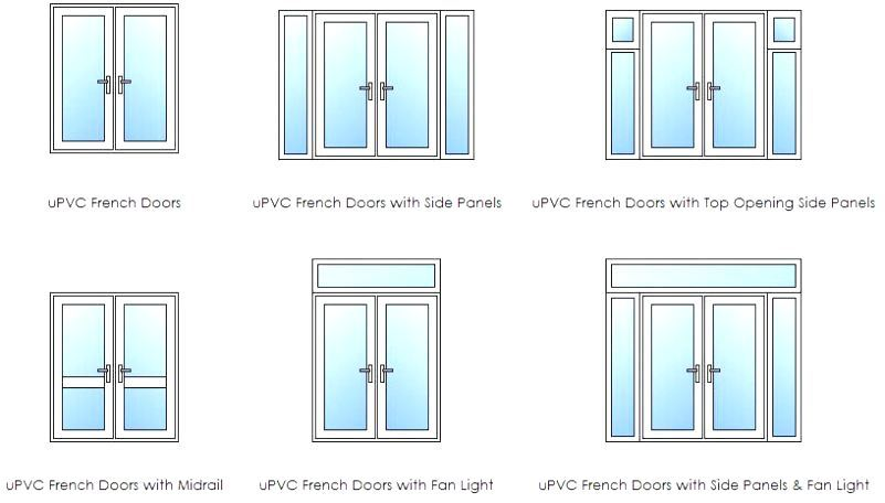 popular french door openings illustrated drawing