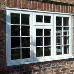 white georgian casement windows in white upvc and bars