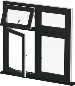 3d image of black upvc casement window