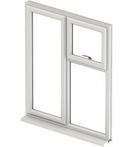 white upvc casement window with white background