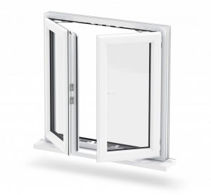 French casement double opening windows in white upvc