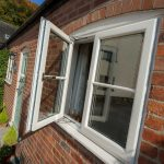 FRENCH CASEMENT WINDOWS IN WHITE WITH HALF BAR