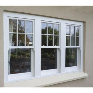 a pair of white replaced sash windows