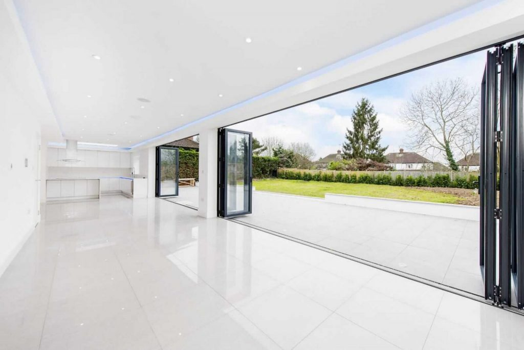 6 panel bifold doors looking from inside on slough home