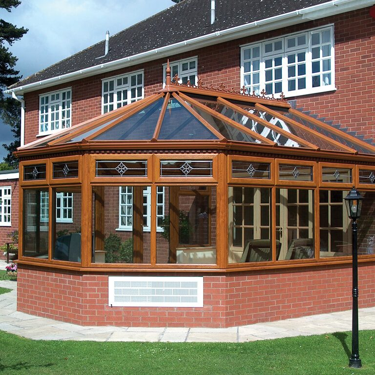 traditional conservatory with wood finish